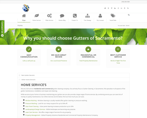 Gutters-Sacramento.com Webdesign by Local Pro SEO in Sacramento